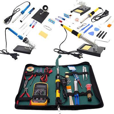 110v Electric Rework Smd Soldering Iron Welding Tool Weldr Gun Kit Desolder Pump