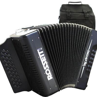 Rossetti Pro Series VALENTINO 31 Button FBE Fa Diatonic Accordion Black + Bag