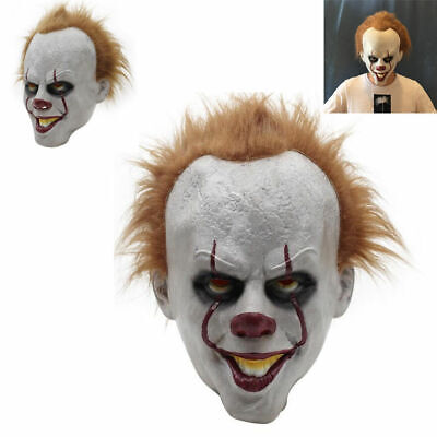 Horror Clown Full Mask Cosplay Stephen King's Pennywise Joker Halloween Costume