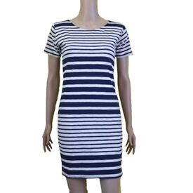 Dress for Women Casual Stripes Black and White - Blue and White