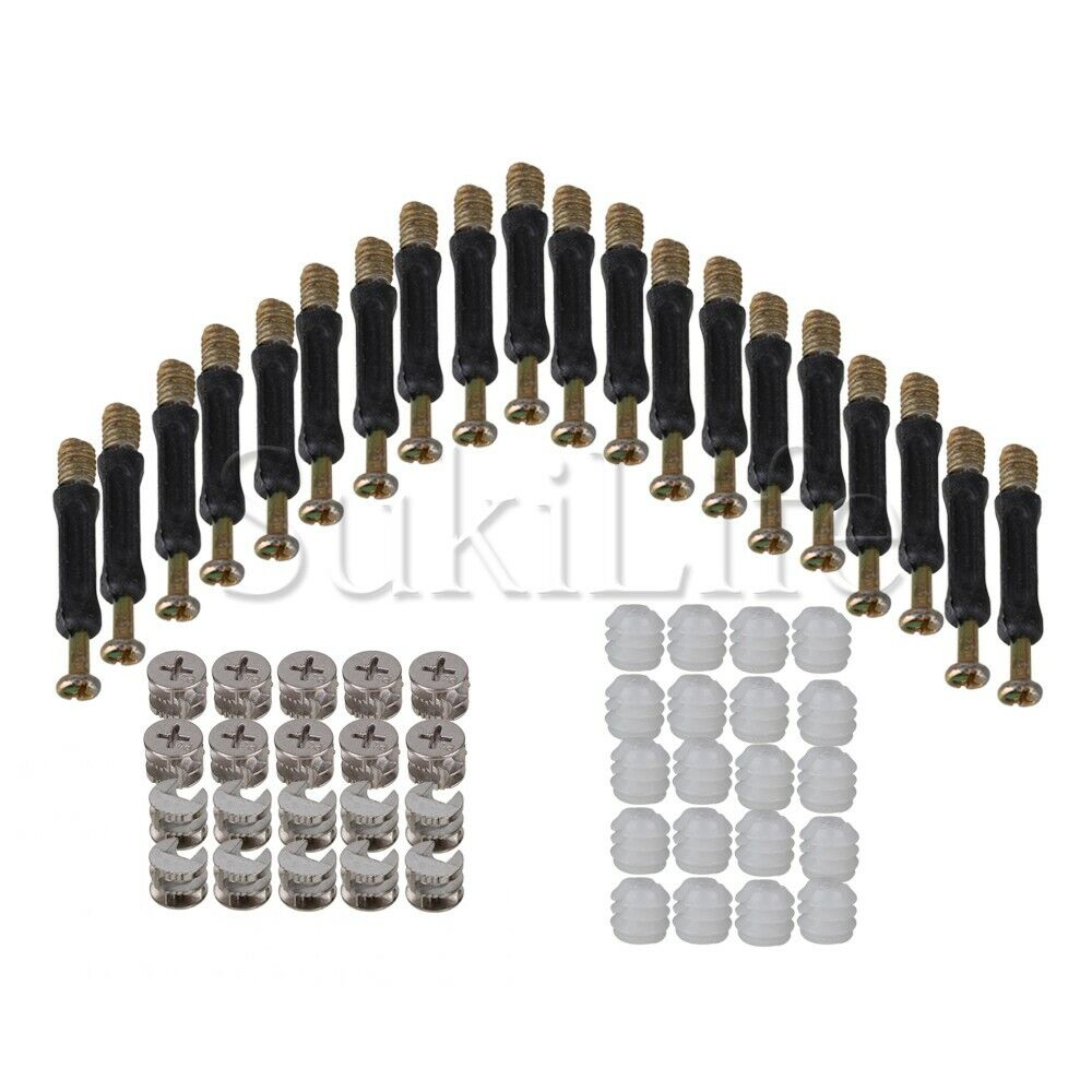 20x Furniture Cabinet Cam Fitting Connector Dowel Pre-inserted Nut Sets 15x12mm