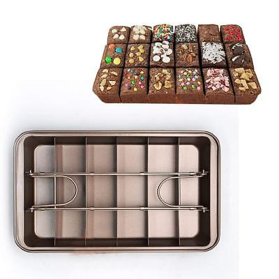 """18 Cavity Non-stick Brownie Pan 11"""" Heavy-duty Cake Pan Champagne for Party"""