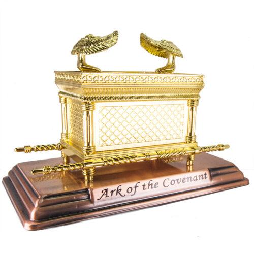 "Figurine Ark of the Covenant Gold Plated Copper Stand Mini Replica 7"" x 4.5"""