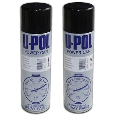 U-pol Powercan Aerosol Top Coat Spray Paint Body Wheel Satin Black Kit 500ml x 2