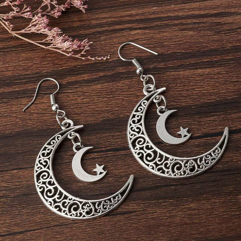 Vintage Moon Star Crescent Earrings 925 Silver Handmade Dang