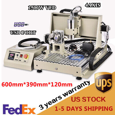Usb 1.5kw 4 Axis 6040 Cnc Router Engraver Carving Drill Machine Metal Cutter Vfd