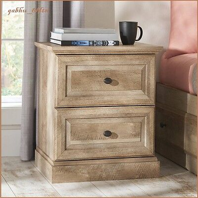 Rustic Oak Weathered Wood Finish Night Stand End Table 2 Drawers Country  ()