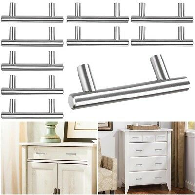 10 Pcs 4 T Bar Stainless Steel Kitchen Cabinet Door Handles Drawer Pulls Knobs