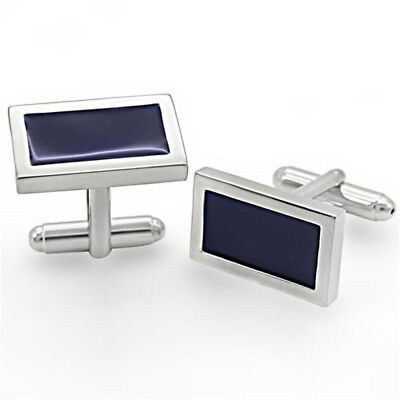 Rhodium Plated with Black Enamel Rectangle Cufflinks Plated Rectangle Cufflinks