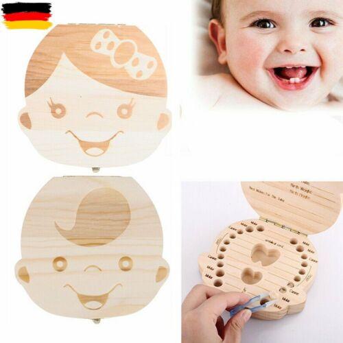 DE Kinder Baby Taufe Milchzahndose Zahndose Holz Milchzähne Tooth Box Souvenir