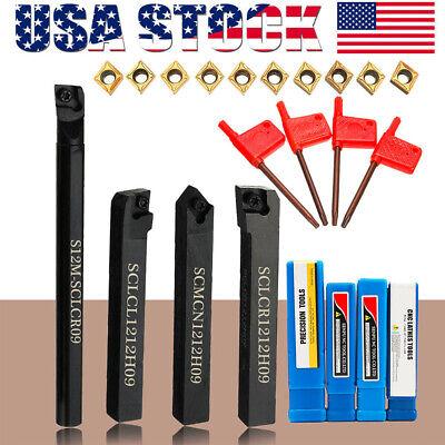 4set 12mm Shank Lathe Boring Bar Turning Tool Holder Set Carbide Inserts R7k3