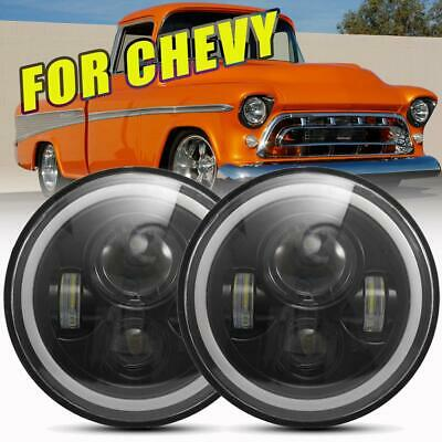 "Pair 7"" Inch LED Headlight Round HI/LO Sealed Beam for Chevy Truck Camaro C10"