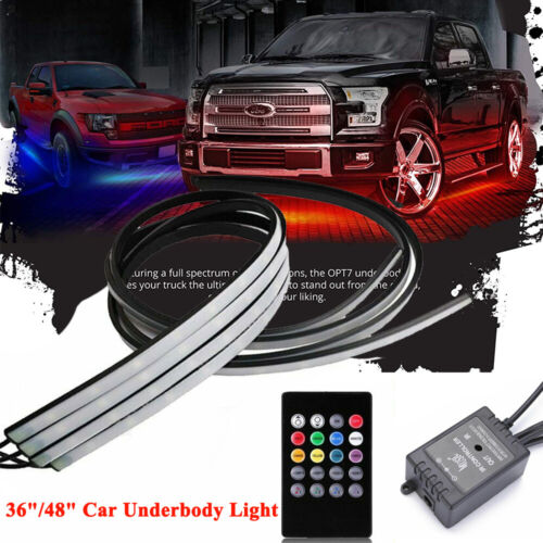 "36/""//48/"" LED LIGHT STRIPS CAR TRUCK UNDERBODY UNDER GLOW NEON TUBE RGB SYSTEM"