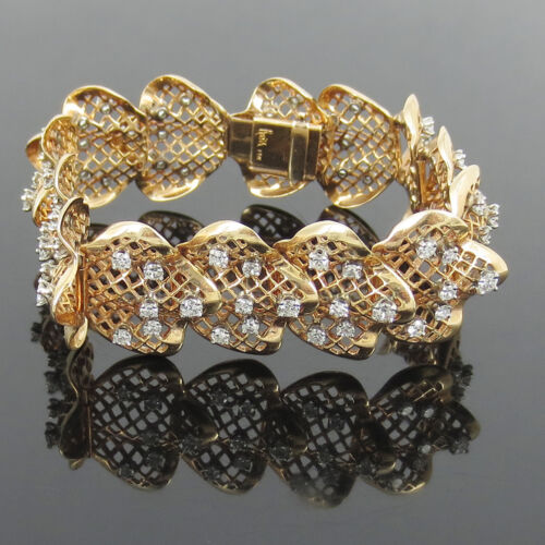 Vintage Ruser 4.20ct Diamond & 14k Yellow Gold Hand Made Wide Bracelet
