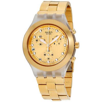 Swatch Irony Quartz Movement Gold Dial Unisex Watch SVCK4032G**Open Box**