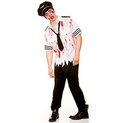 ZOMBIE PILOT ADULT MENS SCARY GORY UNDEAD FANCY DRESS COSTUME OUTFIT - Gory Halloween Costumes Adults