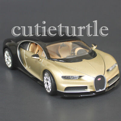 Welly Bugatti Chiron 1 24 Diecast Model Toy Car 28077D Two Tone Gold Black
