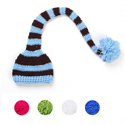 New Arrival Newborn Baby Cute Long Tail Cap Knit Hat Costume Photography Prop