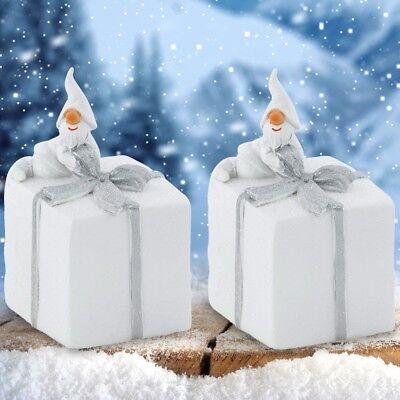 2er Set Weihnachts Geschenke Nikolaus Figuren Fenster Bank Advents Deko X-MAS