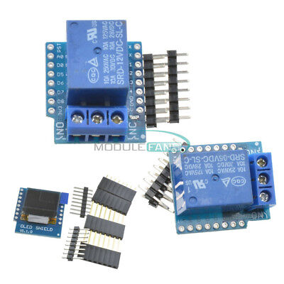 512v Wemos D1 Mini Wifi 1ch Relay Shield 0.66 Inch Oled I2c For Esp8266 Arduino