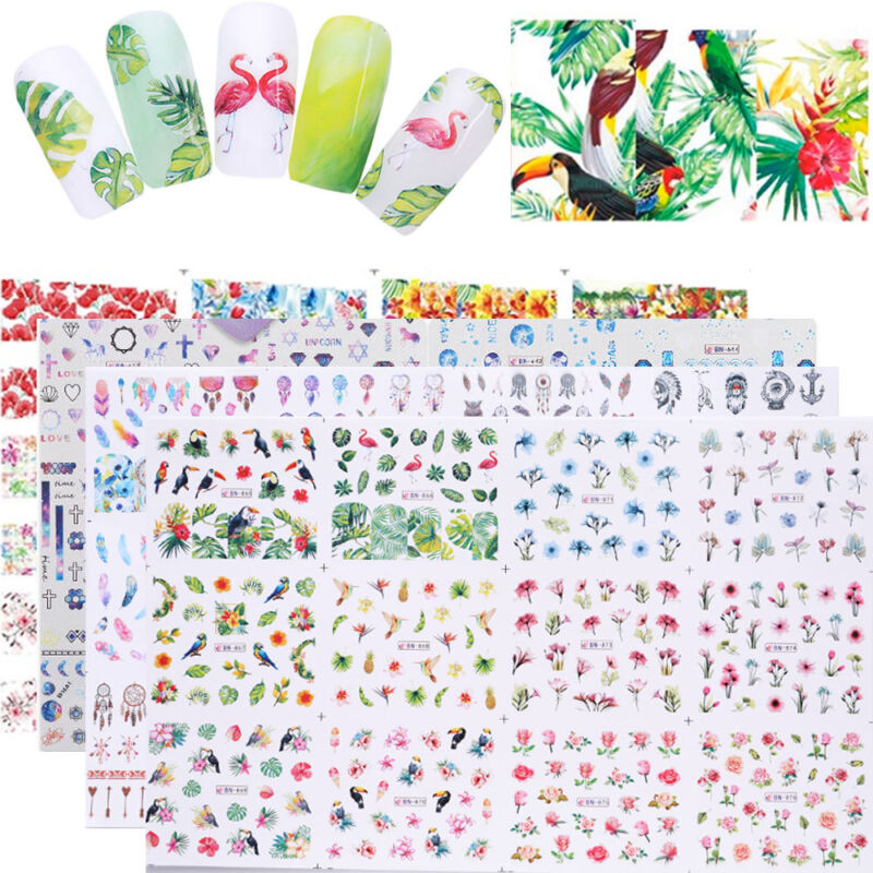 12pcs in1 Water Decals Nail Art Transfer Stickers Flower Des