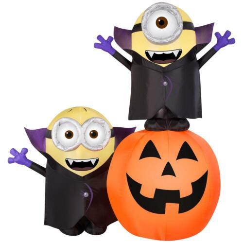 Minions As Dracula On Pumpkin Halloween Airblown Inflatable