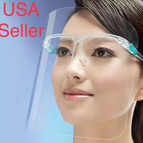 2 set Face Shield Full Cover Clear Glasses Face Protector Reusable Anti-fog