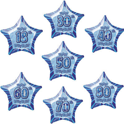 Folienballon Blau HAPPY BIRTHDAY Zahl 18 30 40 50 60 70 80 Geburtstag 50cm Ø