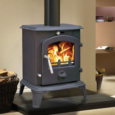 5.5KW New Clean Burn MultiFuel WoodBurning Stove WoodBurner Cast Iron Log Burner