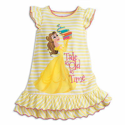 Disney Store Princess Belle & Chip Beauty & Beast NightGown PJ's Girls Size 9/10 Disney Store Princess Pj