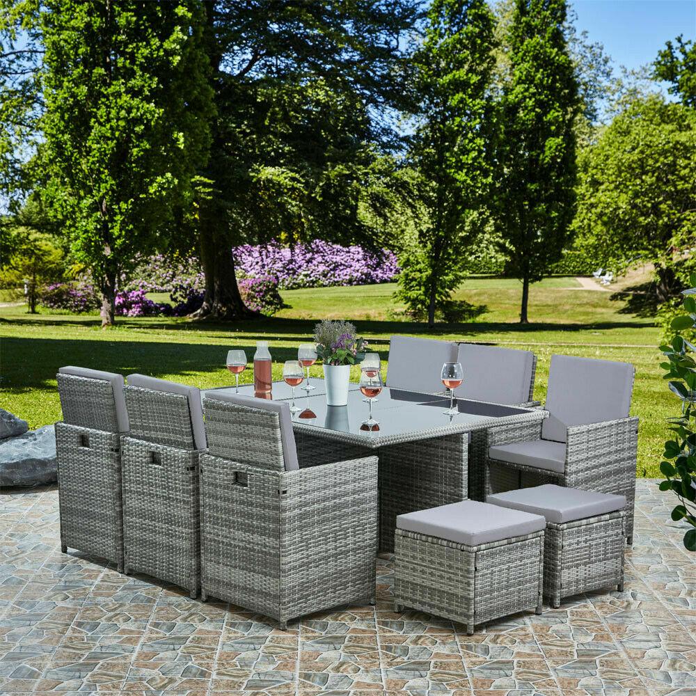 Garden Furniture - CUBE RATTAN GARDEN FURNITURE SET CHAIRS SOFA TABLE OUTDOOR PATIO WICKER 10 SEATS