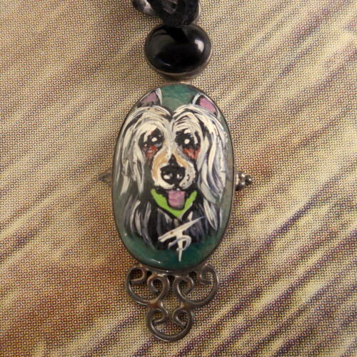 Chinese Crested Necklace Hand Painted Folk Art Dog Breed Jewelry Pet Green Black