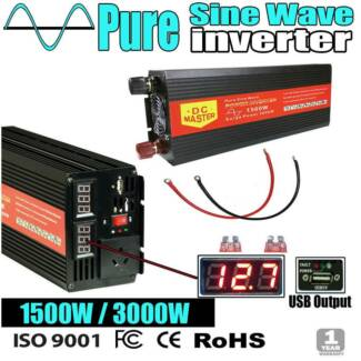 Pure Sine Inverter 1500W Max 3000W Camping Caravan Battery Power