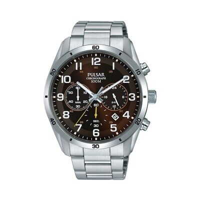 Pulsar Mens Watch Quartz Stainless Steel Brown Face with Chrono & Date PT3843X1