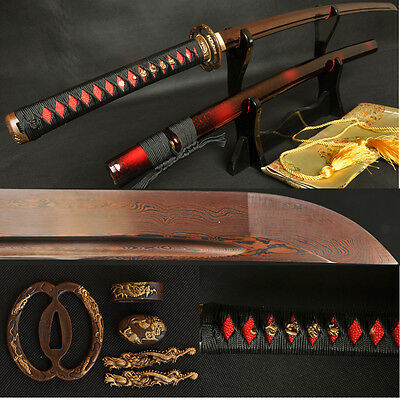 Black&Red Folded Steel Full Tang Blade Japanese Dragon Sword Samurai Katana