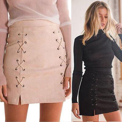Women Slim Mini Skirt Bandage Suede Fabric Seamless Stretch Tight Short Skirt