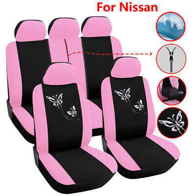 Universal Pink Car Seat Cover Set Accessories Fit for Nissan Rogue Maxima Xtrail