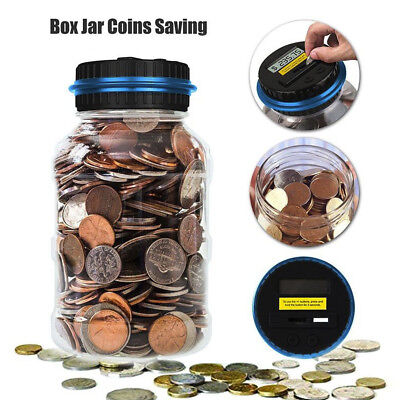 Electronic Digital Coin Counter Automatic Money Counting Piggy Bank Jar Gift