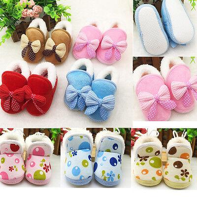 Newborn Baby Girls Winter Warm Soft Sole Boots Toddler Bowknot Prewalker Shoes