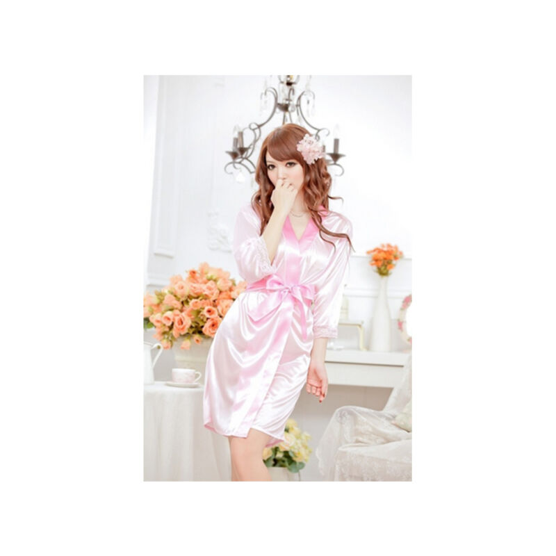 Woman%27s+Satin+Lace+Robe+%26+G+-+String+%2F+Size+S+-+Pink