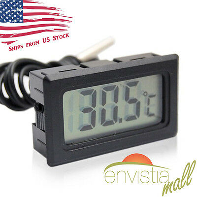 Digital LCD Display Temperature Meter Thermometer Temp Sensor w/ Probe Black US