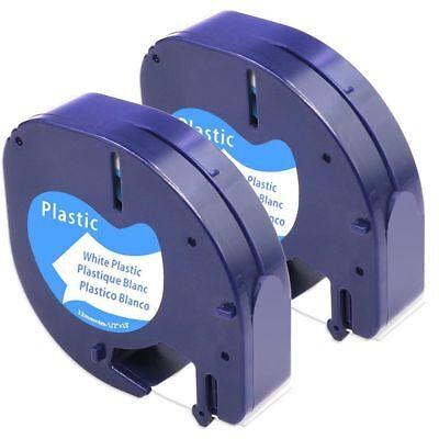 - 91331 91201 91221 Compatible Dymo White Plastic LetraTag LT-100 Label Tapes 2PK