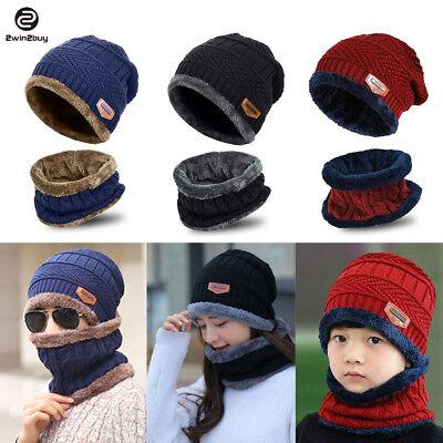 New Men Women Winter Knit Baggy Hat Scarf Set Fleece Warm Beanie Cap Xmas Gift