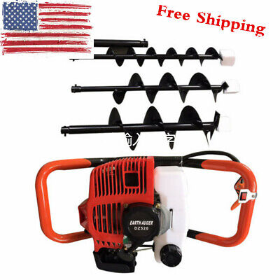 2-stroke 52cc 2.3hp Gas Powered Post Hole Digger With 4 6 8 Auger Drill Bit