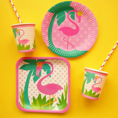 Pink Flamingo Theme Paper Plate Cup Dish Kids Birthday Party Tableware Supplies (Pink Party Cups)