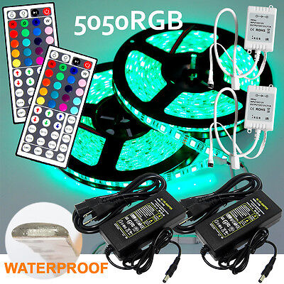 2 5M SMD RGB 5050 Waterproof LED Strip light 300 44 Key Remote 12V Supply Power