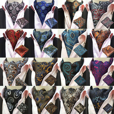 Men Paisley Cravat Ascot Necktie Handkerchief Pocket Square Wedding Party Set