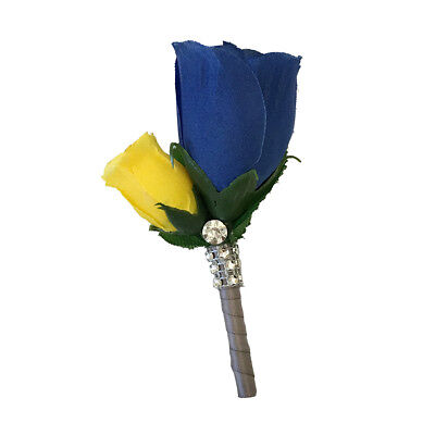 Blue Yellow Wedding Flowers - Keepsake Royal Blue and Yellow: Men Prom, Wedding Boutonniere Artificial Flowers