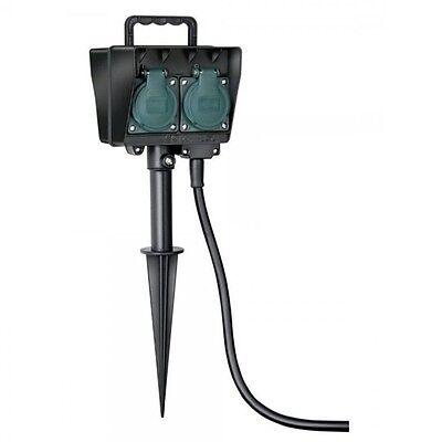 Garten Stromverteiler Gartensteckdose 2/4-fach mit Erdspieß Verteiler Steckdose
