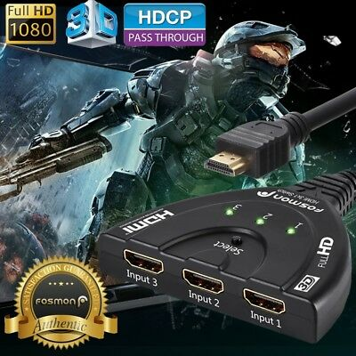Fosmon 3x1 3 Port 1080P HD TV 3D Compact Auto HDMI Switch Hub Splitter Adapter